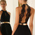 Black Halter Contrast Lace Backless Dress(Exclude Belt) - Sheinside.com