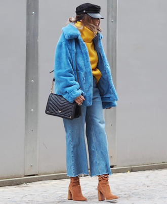 jacket tumblr blue jacket faux fur jacket hat fisherman cap denim jeans blue jeans cropped jeans boots brown boots bag sweater yellow