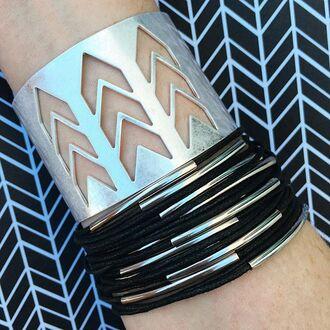 jewels jewel cult jewelry bracelets stacked bracelets boho boho chic boho jewelry bohemian silver black silver bracelet arrow cuff bracelet