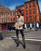 shoes,boots,knee high boots,fendi,leggings,jacket,wool,black blouse,sunglasses