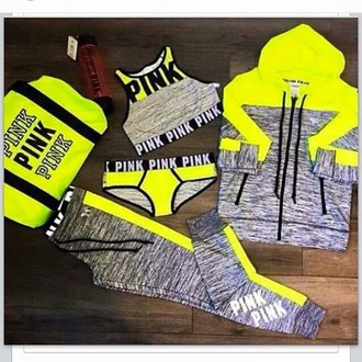 pants pink by victorias secret victoria's secret neon grey denim jacket underwear bra pink sweater tracksuit jacket tights yellow joggers top details on fleek