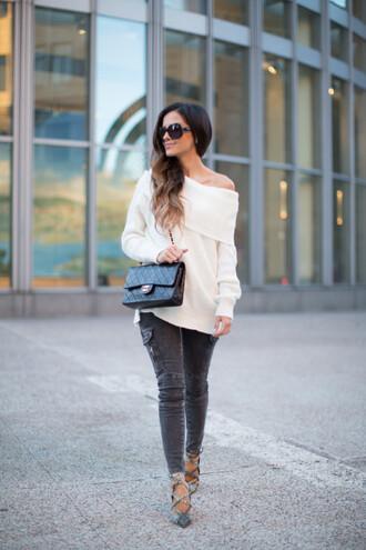 maria vizuete mia mia mine blogger sweater jeans shoes sunglasses bag