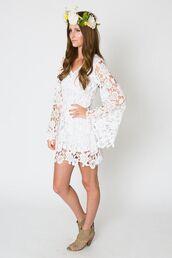 dress,crochet,white,boho,wedding,beach,hippie,retro,vintage,gown,short,mini,bell sleeves,long sleeves
