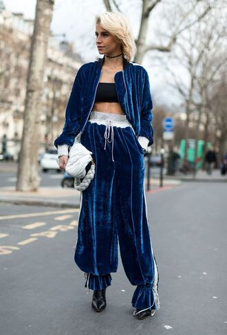 pants velvet jacket top bandeau streetstyle fashion week 2017 paris fashion week 2017