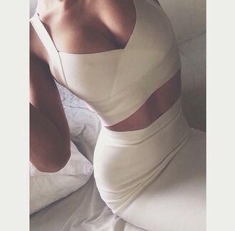 dress two-piece cream bandage dress sexy dress sexy fashion