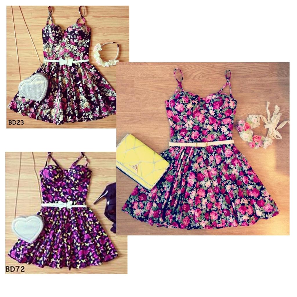 Unique flirty floral bustier dress s m