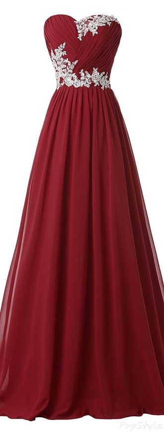 dress red prom dress gown strapless sweetheart dress