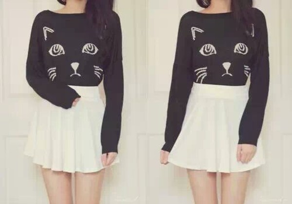shirt black cat face skirt sweater cats kawaii outfit cute lovely cher lloyd cats pullover top cats are you kitten me meow? cat sweater black sweatshirt cat shirt cat sweatshirt black skirt cute top black and white shirt cute shirt black cat black and white