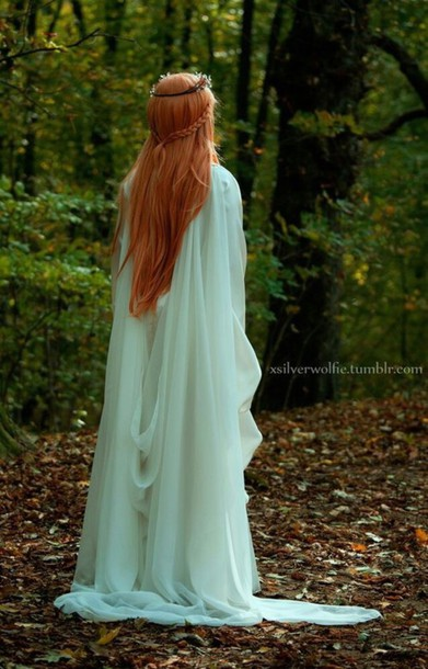 dress long dress white elvish fantasy medieval witch