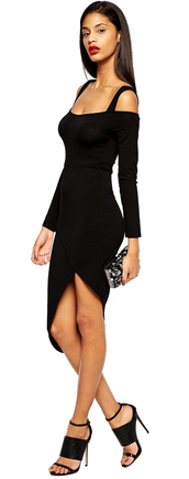 dress,clothes,black dress,little black dress,asymmetrical,asymmetrical dress,long sleeve dress,off the shoulder dress,midi,midi dress,party dress,sexy party dresses,sexy dress,party outfits,fall outfits,fall dress,winter outfits,cocktail dress,birthday dress,clubwwear,celebrity style,style,all black everything