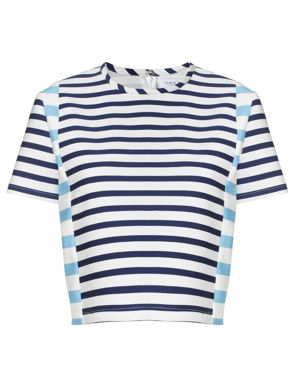 top striped top blue and white