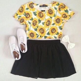 shirt sunflower crop top crop tops black skater skirt skater skirt circle skirt