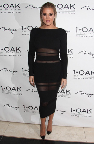 dress bodycon midi dress black dress khloe kardashian pumps sheer mesh dress