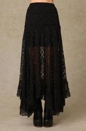 skirt,long,black,laces,maxi skirt,black skirt,lace,black lace,goth hipster,goth,alternative,midi skirt,lace skirt,flowy,lacy black