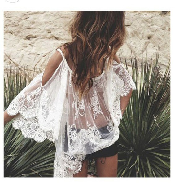 blouse dress white dress lace dress boho dress hippie see through dress