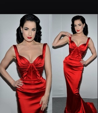 dress zac posen dita von teese satin dress red dress