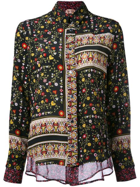 No21 - patchwork floral shirt - women - Silk - 40, Black, Silk