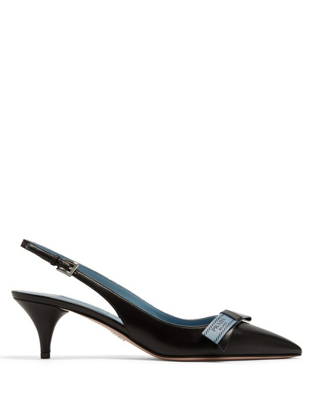 Prada heel bow embellished pumps leather black shoes