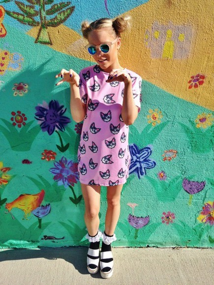 cats cute shoes socks dress sunglasses pretty dress vintage tshirt dress high fashiion sandals kawaii