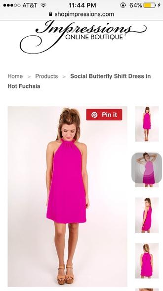 dress pink pink dress high neck shift