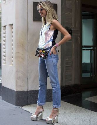 top sequins sandals platform sandals streetstyle helena bordon blogger instagram ny fashion week 2016 sequin blouse sequin shirt