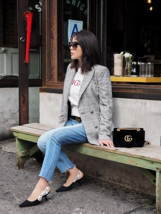 jacket black bag tumblr grey blazer bag shoes mid heel sandals slingbacks denim jeans blue jeans sunglasses belt t-shirt
