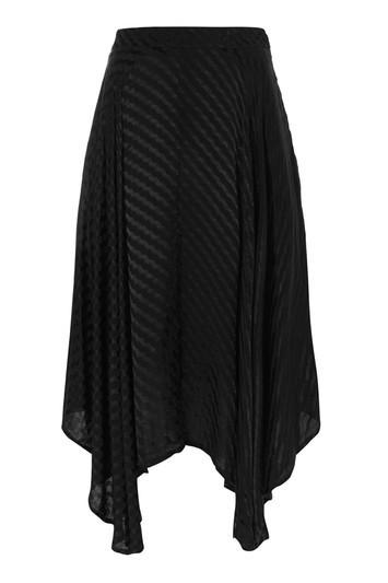 Asymmetric Self Jacquard Midi Skirt - Black