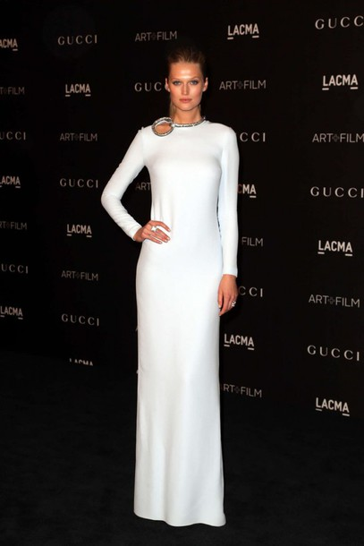 Dress: toni garrn, white dress, gown, prom dress - Wheretoget