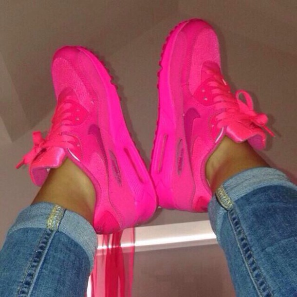 shoes hot pink nike air max 90 pink air max pink shoes pink air max 90s dope tumblr