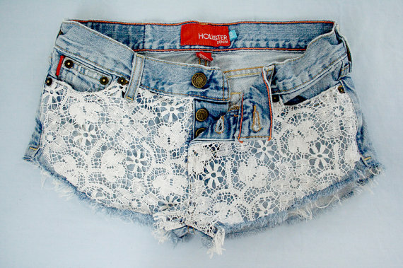Lace Crochet Denim Handmade Distressed by GirlMeetsClothes on Etsy