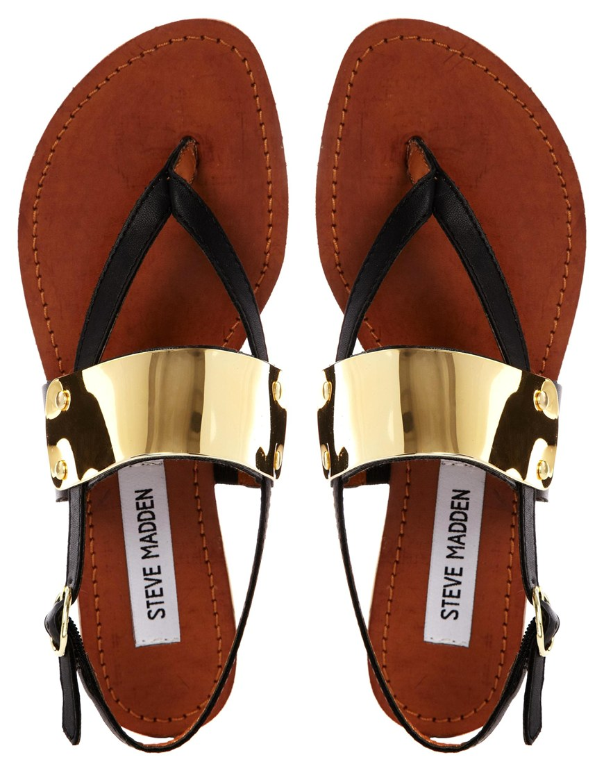 Steve Madden Cuff Toe Post Black Flat Sandals at asos.com