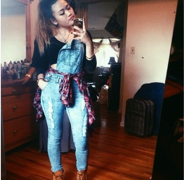 romper denim plaid shirt jeans timberlands