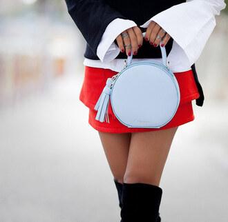 bag tumblr blue bag baby blue light blue round bag tassel mini skirt red skirt skirt knuckle ring ring