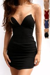 dress,mesh dress,mesh,see htrough,sexy,sexy dress,club dress,sheer,see through dress,date dress,sexy party dresses,party dress,black dress,black,red,red dress,wine red,dark red,long sleeve dress,sheer sleeves,mini dress,bodycon dress,cool,hot,tumblr dress,pinterest,street,cihc,casual chic,urban,mini,short dress,little black dress,preppy,fashionistaa,must have it,summer,summer dress,moraki,streetstyle,streetwear