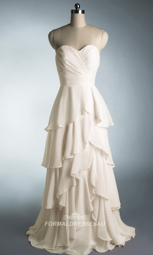 Cheap Sweetheart Pluffy White Chiffon Prom Dress FDA0160 [FDA0160] - AUD$163.01