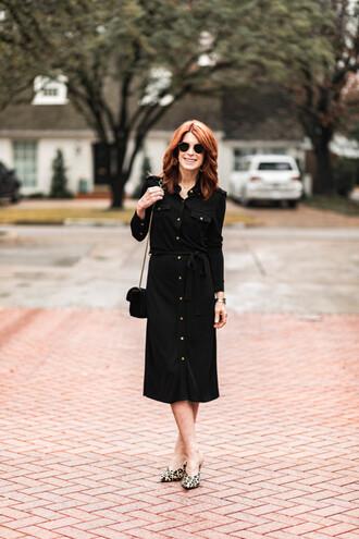 themiddlepage blogger shirt dress shoes bag black dress gucci bag shirt dress
