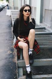 oh my blog,blogger,dress,socks,plaid shirt,black sunglasses