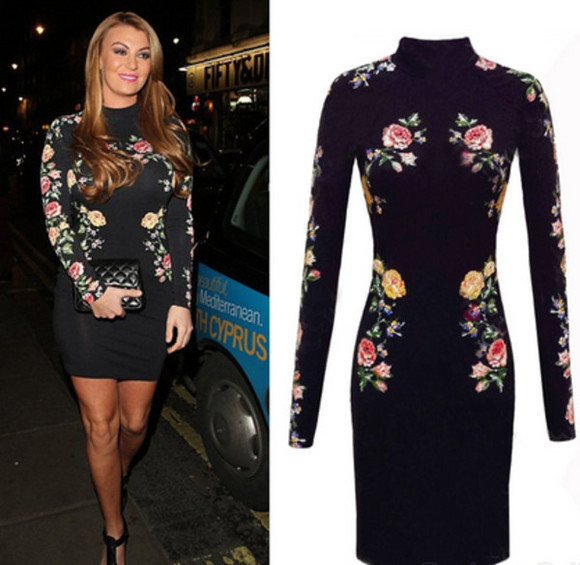mini wow celebritys tyle style blogger celeb fall outfits bodycon dress bandage floral long sleeves sleeves