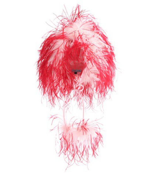 Prada Feather-trimmed hat in pink
