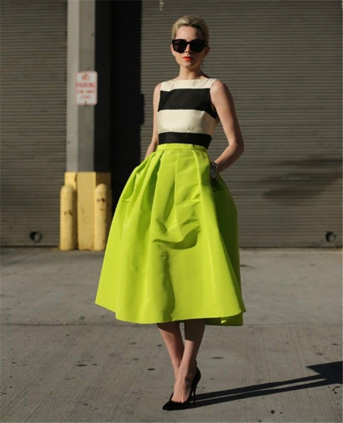Women Retro High Waist Full A Line Pleated Swing Dress Skate Skirt ...