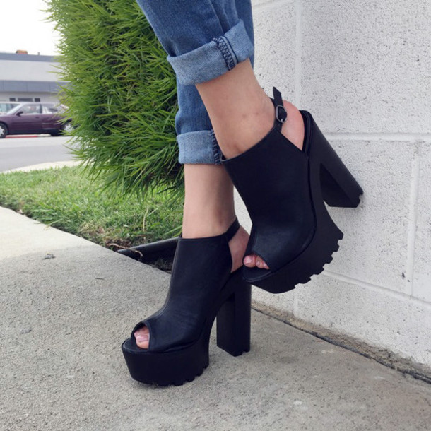 shoes cicihot heels lug sole heels chic girly boho edgy black fashion summer spring