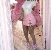 skirt,tumblr skirt,baddies,pink,light pink,lace up skirt,mini skirt,tight skirt,ribbon,cotton,criss cross