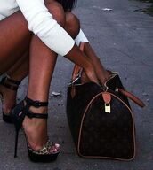 shoes,high,heels,high heels,leopard print,leopard sandals,bag,gladiators,animal print,black,louis vuitton bag,outfit,style