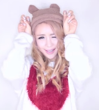hat cute kawaii tumblr lovely gwiyomi wengie super cute beige sweater white pink
