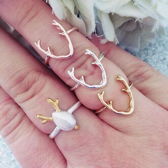 jewels cherry diva knuckle ring ring silver ring gold ring antlers antler jewelry antler ring gypsy ring boho ring tribal ring tribal jewelry deer