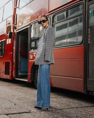 jacket blazer grey blazer plaid plaid blazer blue jeans sunglasses jeans denim