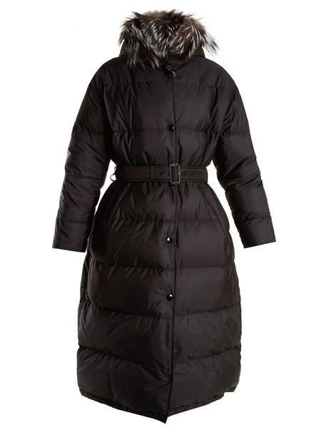 Prada coat fur quilted black