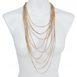 Golden multi row box chain necklace