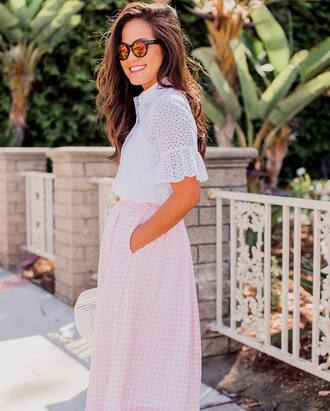 shirt tumblr white shirt eyelet top eyelet detail sunglasses mirrored sunglasses skirt gingham skirt gingham pink skirt