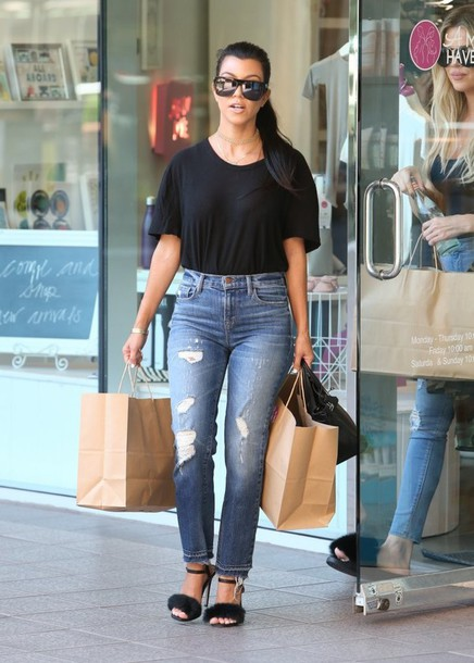 cb85725e47ba jeans top sandals sandal heels kourtney kardashian sunglasses kardashians  streetstyle shoes black t-shirt